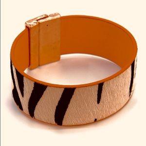 "Leather Magnet Strap zebra print 7.5"" length"